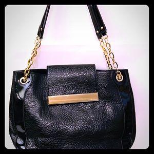 Large Anne Klein Classic Black Faux Leather Purse
